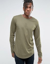 Only And Sons Longline Long Sleeve T Shirt Khaki Green