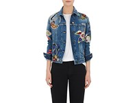 Saint Laurent Women's Floral Patch Denim Jacket Blue