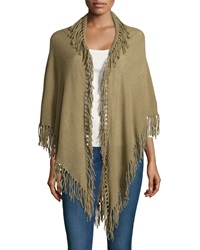Minnie Rose Cashmere Fringed Tunic Shawl Olive