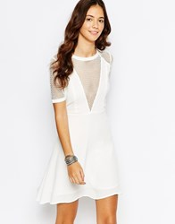 Goldie Enough Said Skater Dress With Mesh Detail Cream
