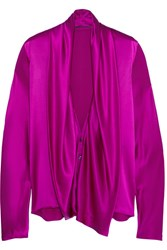 Haider Ackermann Draped Silk Satin Shirt Bright Pink