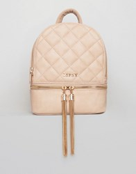 Lipsy Quilted Tassel Mini Backpack Nude Pink