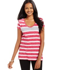 Style And Co. Sport Short Sleeve Striped Tee Fire Blss Cit S