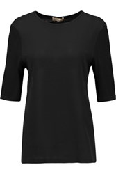 Michael Kors Collection Crepe And Jersey T Shirt Black
