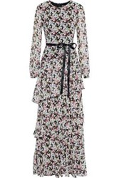 Mikael Aghal Woman Tiered Satin Trimmed Floral Print Chiffon Maxi Dress Multicolor