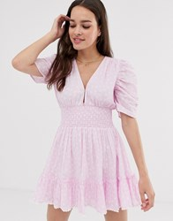 Cleobella Sadie Mini Dress With Cinched Waist And Puff Sleeves Purple