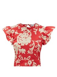 Red Valentino Redvalentino Tie Back Floral Print Cotton Top