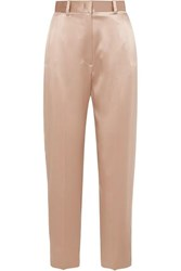 Joseph Electra Silk Satin Tapered Pants Beige
