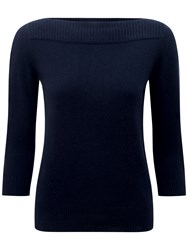 Pure Collection Boat Neck Cashmere Jumper Navy