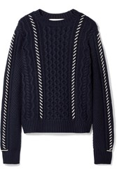 La Ligne Fisherman Whipstitched Cable Knit Wool Sweater Navy