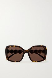Versace Square Frame Tortoiseshell Acetate And Gold Tone Sunglasses