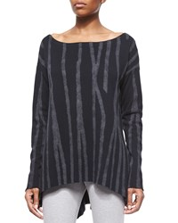 Donna Karan Petite Variegated Needlepunch Boat Neck Tunic Women's