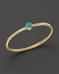 Zoe Chicco 14K Yellow Gold Thin Band Ring With Turquoise Gold Blue