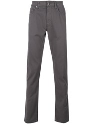 Hackett Straight Leg Trousers Cotton Spandex Elastane Grey