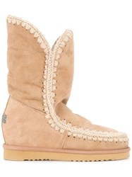 Mou Eskimo Shearling Wedge Boots Brown