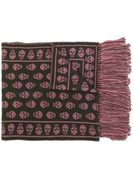 Alexander Mcqueen Skull Print Scarf Pink And Purple
