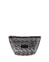 Neiman Marcus Squiggle Stripe Clear Pouch Bag Black
