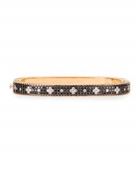 Roberto Coin Rock And Diamond Slim 18K Rose Gold And Black Diamond Bangle