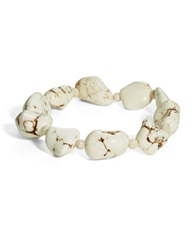 Lord And Taylor Semi Precious Stone And Sterling Silver Stretch Bracelet White