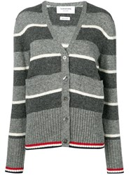 Thom Browne Wide Repp Stripe Relaxed Cardigan Grey
