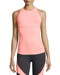 Pink Lotus Scoop Neck Performance Tank Coral