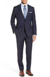 Boss Men's 'Johnstons Lenon' Trim Fit Plaid Wool Suit Dark Blue