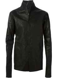 A Diciannoveventitre Leather High Neck Jacket Black