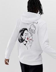 Your Turn Yourturn Hoodie With Back And Chest Print In White