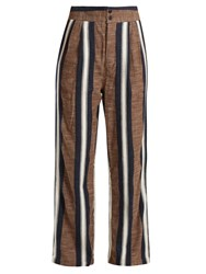 Ace And Jig Kate Wide Leg Striped Cotton Trousers Beige Multi