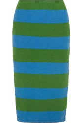 Max Mara Striped Slub Stretch Wool Blend Pencil Skirt Bright Green