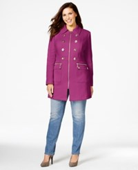 Inc International Concepts Plus Size Military Zip Front Coat Only At Macy's Berry Ice