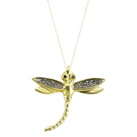 London Road 9Ct Gold Rhodium Black Diamond Dragonfly Pendant Necklace Gold