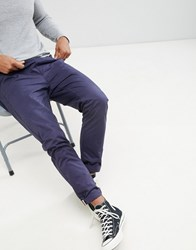 Brave Soul Drawcord Cotton Trousers Navy