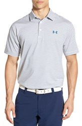 Men's Under Armour 'Playoff' Short Sleeve Polo White Petrol Blue