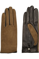 Agnelle Suede And Leather Gloves