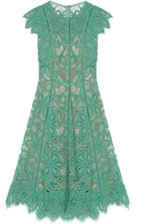 Lela Rose Corded Lace Dress Mint
