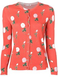 Oscar De La Renta Floral Patterned Cardigan Red