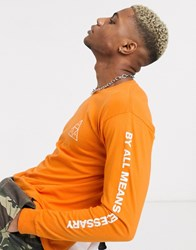 Huf Essentials Triple Triangle Long Sleeve T Shirt In Orange