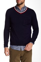 Relwen Varsity V Neck Wool Sweater Blue