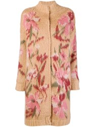 Twin Set Floral Long Cardi Coat Nude And Neutrals