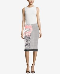 Eci Mixed Print Pencil Skirt Blush
