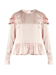 Preen Cherry Ruffle Trimmed Silk Blouse Light Pink