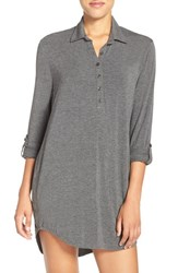 Pj Salvage Women's Jersey Henley Night Shirt Smoke