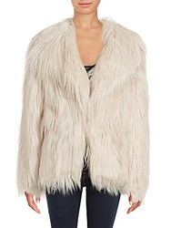 Candc California Solid Faux Fur Coat Blush