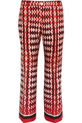 F.R.S For Restless Sleepers Ceo Printed Silk Twill Straight Leg Pants Red