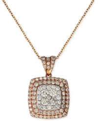 Effy Collection Pave Rose By Effy Diamond Pave Square Pendant 7 8 Ct. T.W. In 14K Rose Gold
