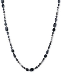 Carolee Two Tone Pave Long Beaded Necklace Black