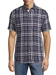 Report Collection Linen Casual Plaid Shirt Navy