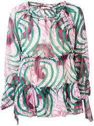 Odeeh Printed Ruched Blouse Pink