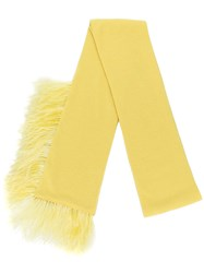 N 21 No21 Feather Trimmed Scarf Wool Ostrich Feather Yellow Orange